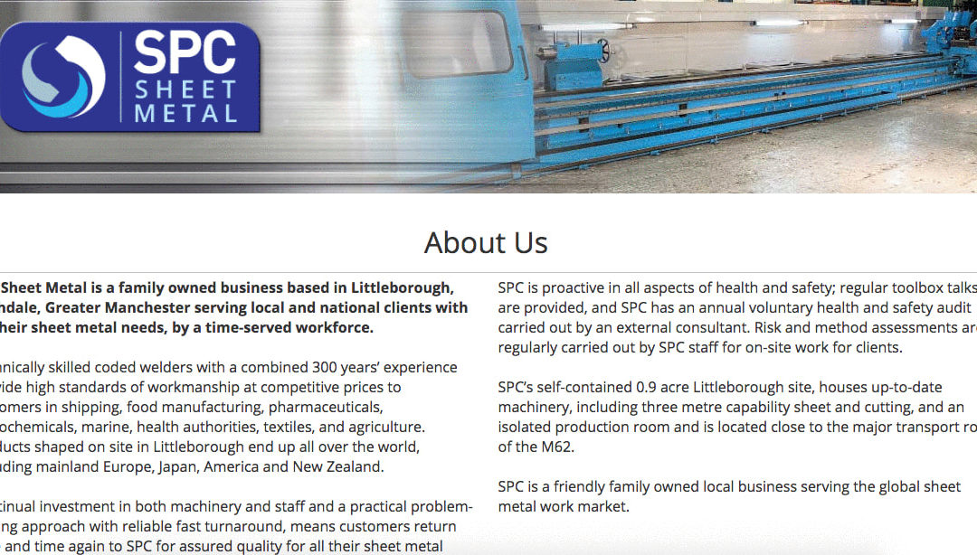 Web copy for steel fabrications company