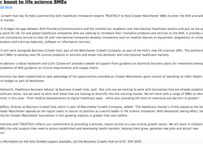 Life science SME boost for business newsletter